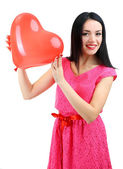 Attractive young woman with balloon isolated on white — Stock Photo