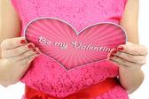 Cartolina di San Valentino per saperne di giovane donna da vicino — Foto Stock