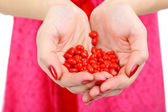 Young woman with holding little hearts in hands close up — Stockfoto