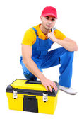 Male worker with toolbox isolated on white — Zdjęcie stockowe