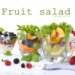 Stock Photo: Fruit salad in glasses, isolated on white