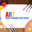 Composition of various creative tools on table close-up — Stock Photo #40590909