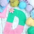One letter of knit handmade alphabet close up — Stock Photo #40591479