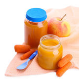 Jars of various baby food, isolated on white — Stock Photo