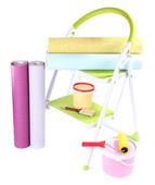 Małe rolki drabiny i tapety, na białym tle — Zdjęcie stockowe