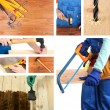 Collage of working man and carpentry tools — Stock Photo #40638839