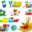 Bright plastic tableware isolated on white — Stock Photo #40638971