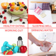 Stock Photo: Collage of healthy lifestyle