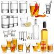 Collage of alcohol drinks. Vodka isolated on white — Stock Photo #40639129