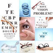 Collage of equipment for good vision, close-up — Zdjęcie stockowe