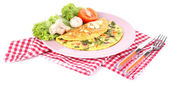Omelet with mushrooms isolated on white — Stock Photo