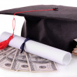 Graduation hat, money and scroll, isolated on white — Stock Photo #40641151