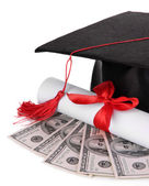 Graduation hat, money and scroll, isolated on white — Stock Photo