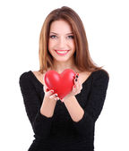 Attractive woman with heart, isolated on white — Stock Photo
