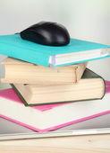 Kitap ve oda zemin üzerine ahşap masa üstünde defter bilgisayar fare — Stok fotoğraf