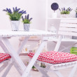 Stock Photo: Garden chairs and table with flowers on shelves on white background