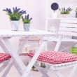 Garden chairs and table with flowers on shelves on white background — Stock Photo #40780993