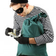 Stock Photo: Thief with bag, isolated on white