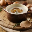 Composition with mushroom soup in pot, fresh and dried mushrooms, on wooden table, on sackcloth background — Stock Photo #40785625