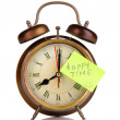 Alarm clock with sticker isolated on white — Stock Photo #40786463