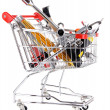 Stock Photo: Construction tools in shopping cart isolated on white