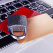 Stock Photo: Credit cards and lock on keyboard close up