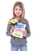 Beautiful little girl holding bouquet and card isolated on white — Stockfoto