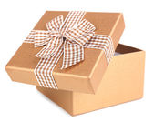 Open gift box isolated on white — Foto Stock