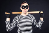 Thief isolated on black — Stock Photo