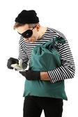 Thief with bag, isolated on white — Stock Photo