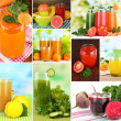 Fresh juice collage — Stock Photo