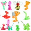 Collage of simple balloon animals isolated on white — Stock Photo