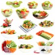 图库照片: Collage of different salads isolated on white