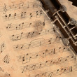 Стоковое фото: Musical notes and clarinet