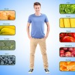Stock Photo: Collage of most useful foods for human