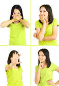Collage of emotional young woman isolated on white — Stockfoto