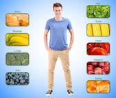Colagem dos alimentos mais úteis para o ser humano — Fotografia Stock