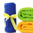 Stock Photo: Colorful towels isolated on white
