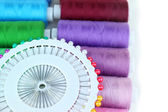 Colored spools of threads close up — Stock Photo
