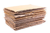 Stack of cardboard for recycling isolated on white — Stock Photo