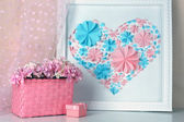 Home decor with handmade picture — Stock Photo