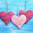 Decorative hearts on wooden background — Stock Photo #40820391