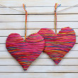 Decorative hearts on wooden background — Stock Photo #40820435