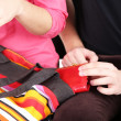 Pickpocket are stealing wallet from bag, close up — Stock Photo #40825559