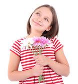 Schöne mädchen mit blumen in der hand, isoliert auf weissbelle petite fille avec des fleurs à la main, isolé sur blanc — Stockfoto