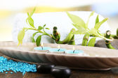 Beautiful spa setting with bamboo on wooden table, on bright background — Stock Photo