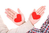 Hands with hearts, isolated on white — Stock Photo