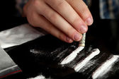 Man snorting cocaine, close up — Stock Photo