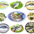 Fresh fish and fish dishes isolated white — Stock Photo