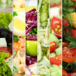 Collage of various salads — Stok Fotoğraf #40848383